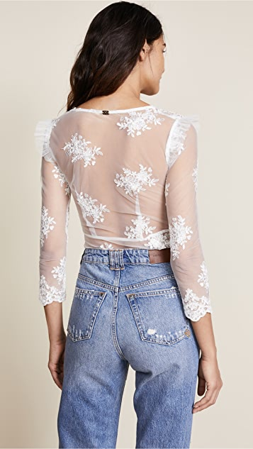 For Love & Lemons Amber Scallop Edge Thong Bodysuit