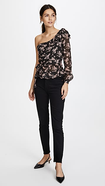 For Love & Lemons Theo One Shoulder Blouse