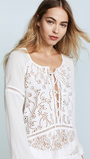 For Love & Lemons Olympia Lace Cover Up Tunic