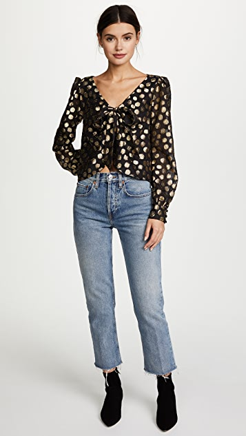 For Love & Lemons Lottie Tie Front Blouse