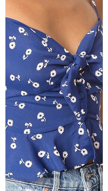 For Love & Lemons Tie Front Ruffle Crop Top