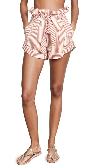 For Love & Lemons Isla Striped Shorts