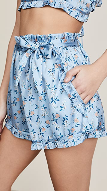 For Love & Lemons Spring Bloom Ruffle Shorts