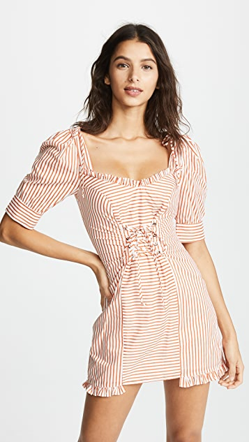For Love & Lemons Selma Lace Up Mini Dress