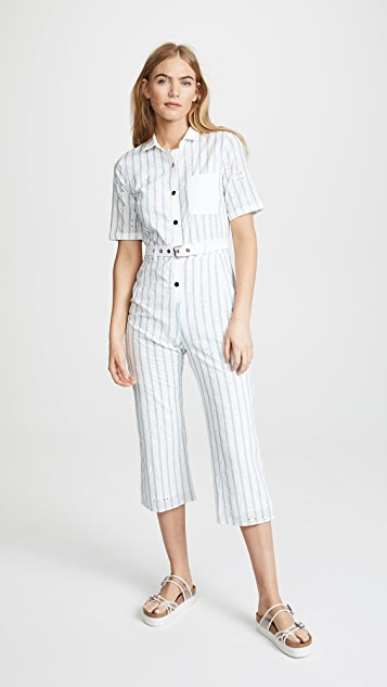 For Love Lemons Hermosa Striped Eyelet Jumpsuit Shopbop