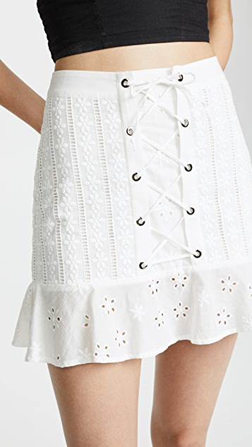 For Love & Lemons Hermosa Eyelet Miniskirt