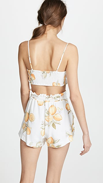 For Love & Lemons Lemonade Tie Front Tank