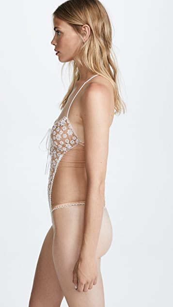 For Love & Lemons Ditzy Daisy Embroidery Bodysuit
