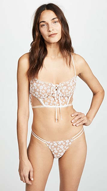 For Love & Lemons Ditzy Daisy Embroidery Strappy Thong