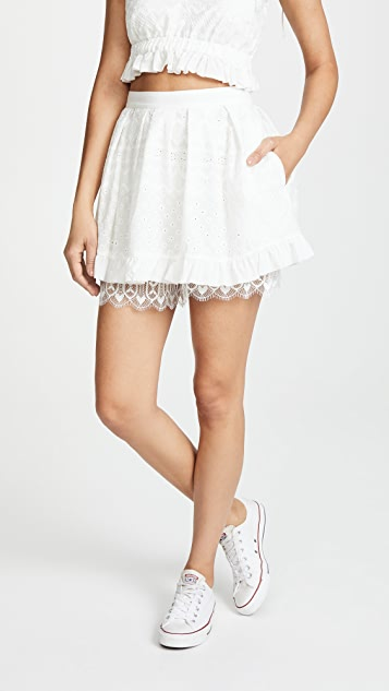 For Love & Lemons Charlotte Eyelet Skort