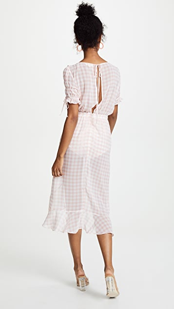 For Love & Lemons Dorothy Ruffle Midi Dress