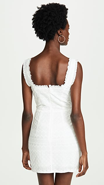 For Love & Lemons Charlotte Eyelet Lace Up Mini Dress
