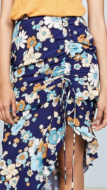 For Love & Lemons Magnolia Shirred Midi Skirt