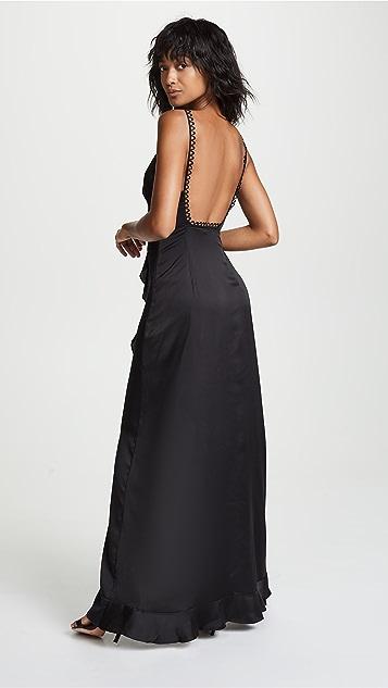 For Love & Lemons Isabella Ruffled Maxi Dress