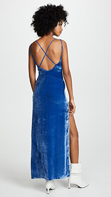 For Love & Lemons Nadine Velvet Maxi Dress