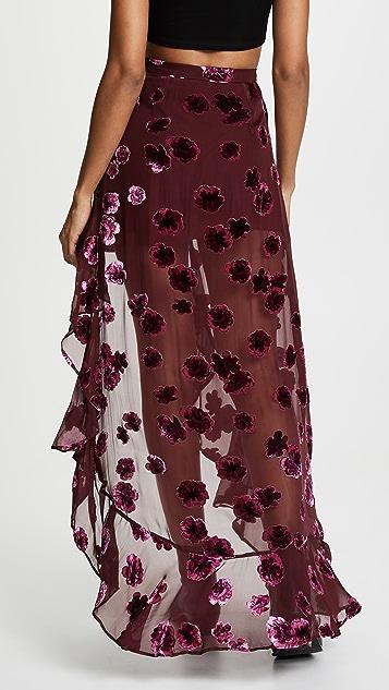 For Love & Lemons Sophie Velvet Floral Skirt