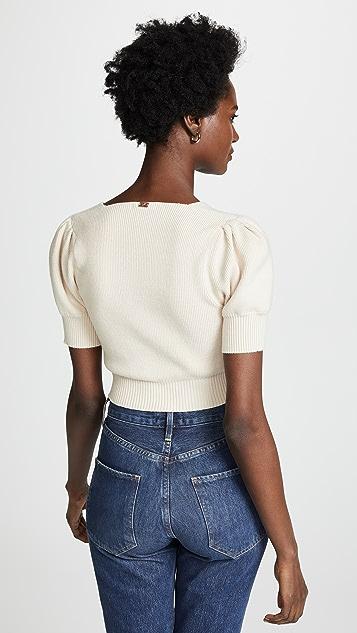 For Love & Lemons Oxford Short Sleeve Knit Top