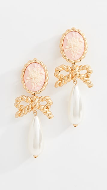 For Love & Lemons Cameo Imitation Pearl Drop Earrings