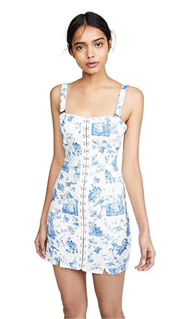 For Love & Lemons Monika Hook Front Mini Dress