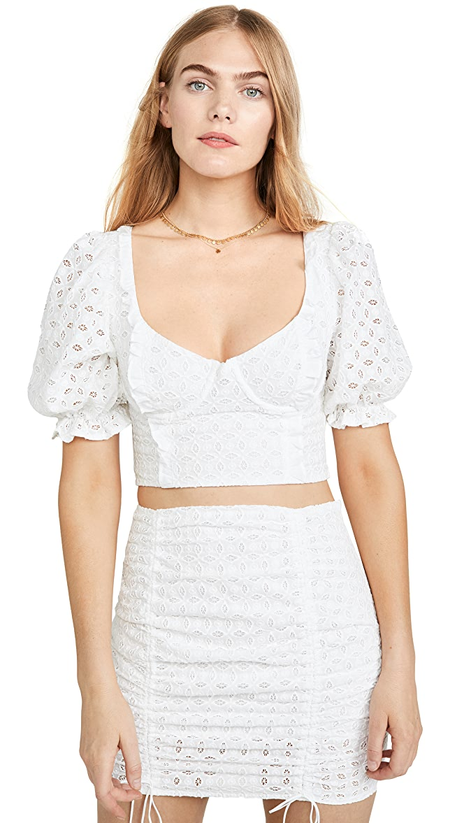 For Love /& Lemons Womens Sand Dollar Lace Up Top