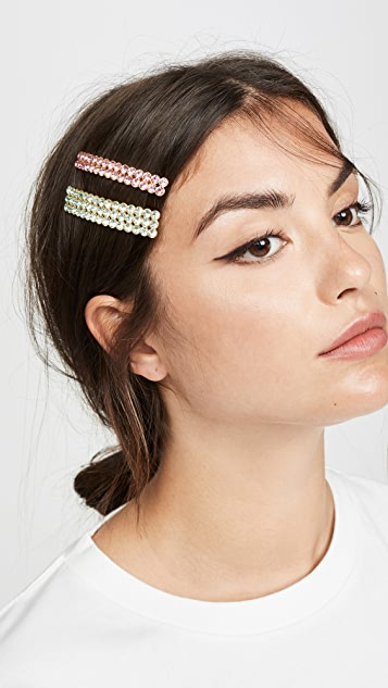 For Love & Lemons Roxy Inset Stone Barrettes