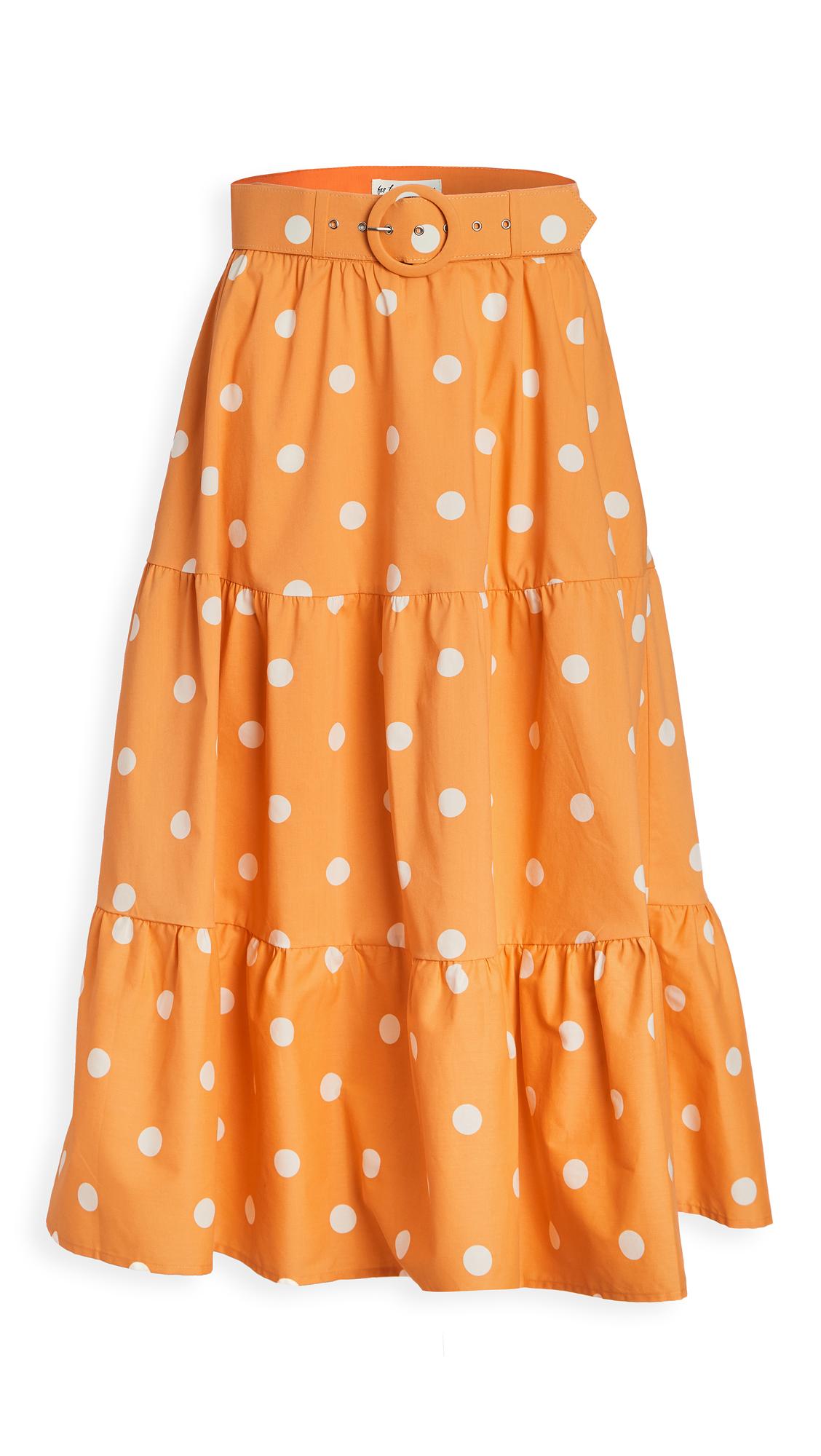 For Love & Lemons Auburn Dot Midi Skirt