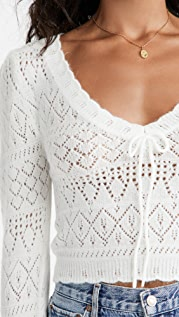 For Love & Lemons Blanca Crochet Sweater