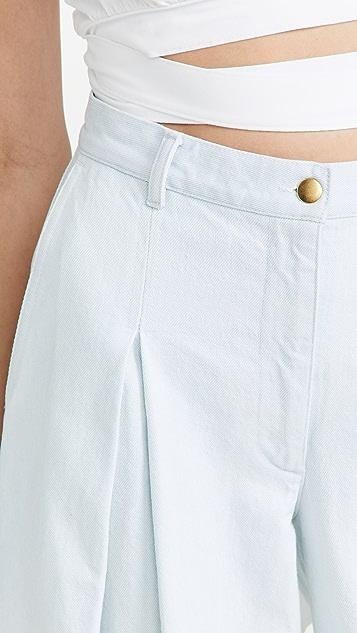 Fe Noel Denim Front Pleat Wide Leg Pants