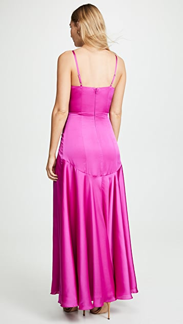 Fame and Partners V Neck Open Back Gown