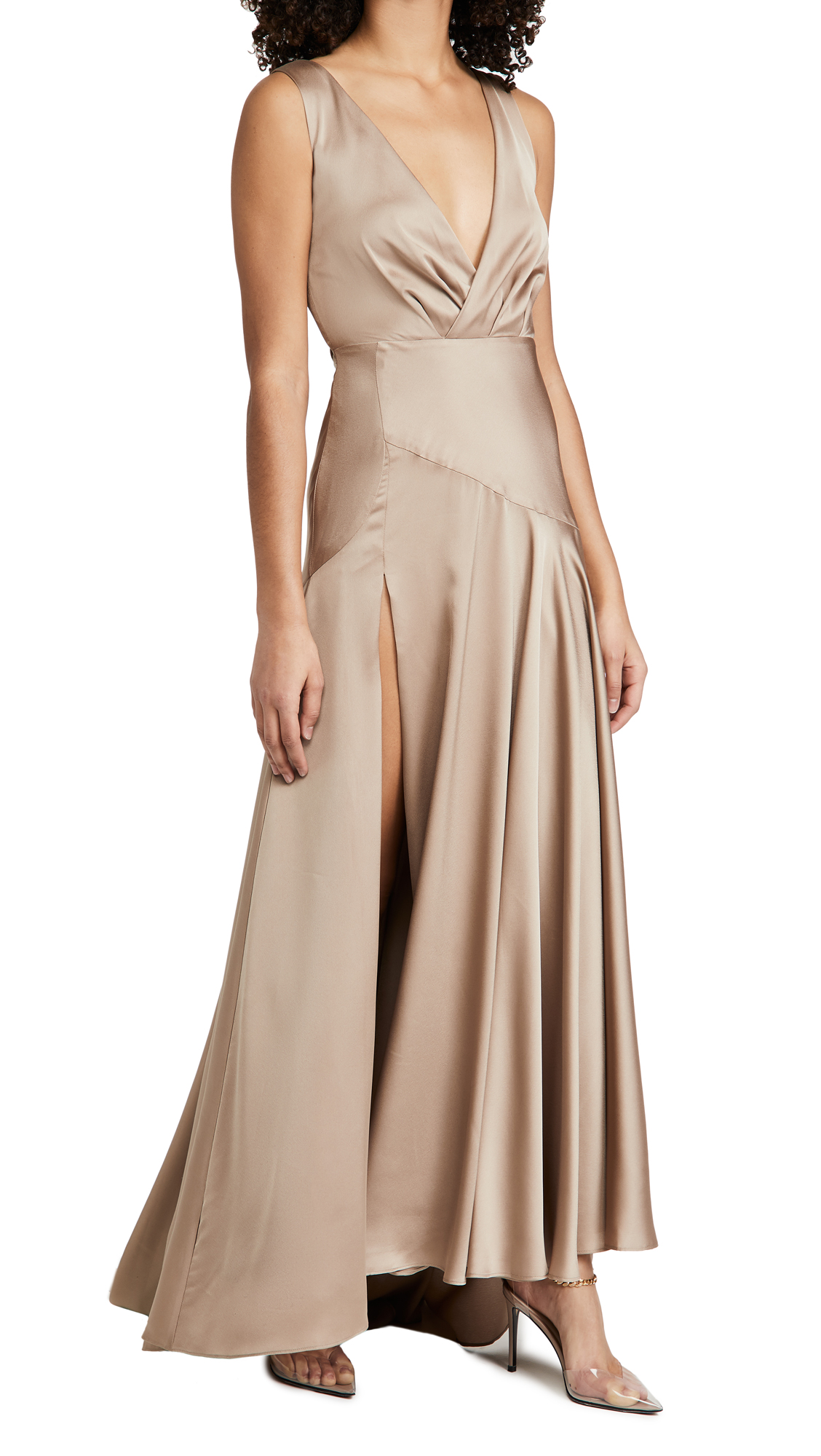 Fame and Partners The Plunging Pleated Blouson Dress