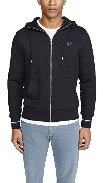 Fred Perry Hooded Zip Through Sweatshirt