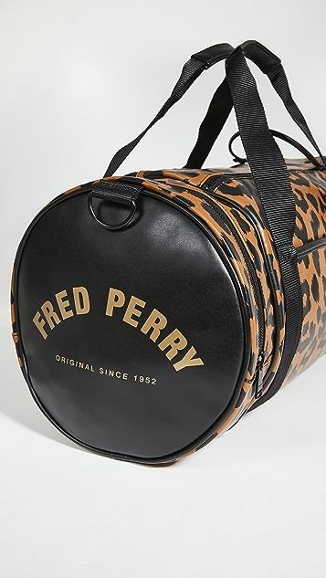 Fred Perry Leopard Print Barrel Bag