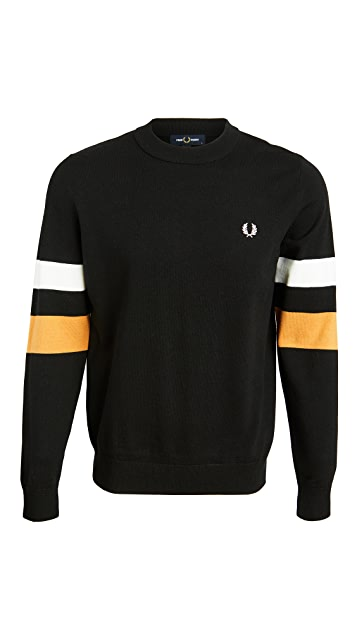 Fred Perry Tipped Sleeve Crew Neck Sweater