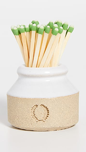 Farmhouse Pottery Milk Bottle Match Striker and Fir Candle Gift Set
