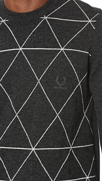 Fred Perry by Raf Simons Intarsia Crew Neck Sweater