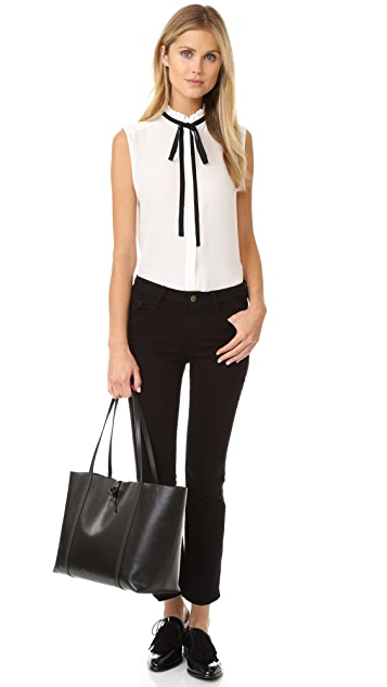 FRAME Le Ruffle Neck Sleeveless Blouse