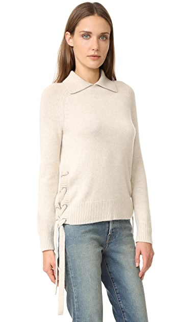 FRAME Le Side Tie Cropped Sweater