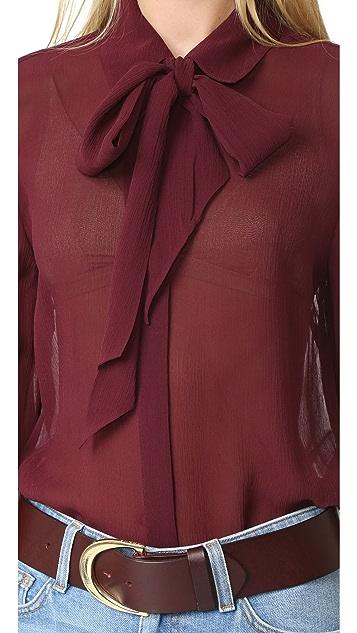 FRAME Chiffon Tie Blouse