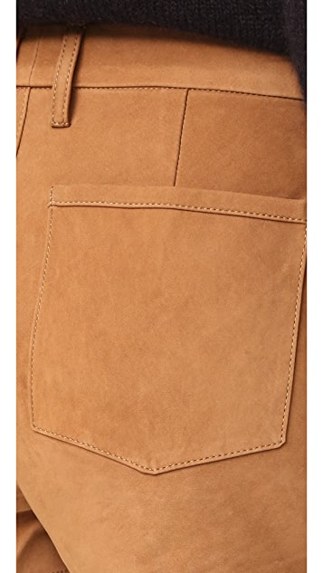 FRAME High Rise Suede Shorts