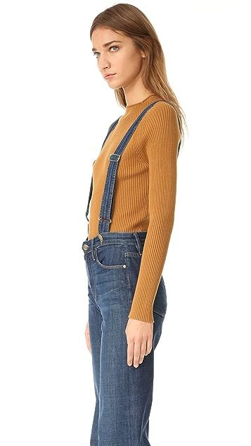 FRAME Le Capri Suspender Jeans