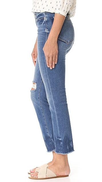 FRAME Le High Straight Raw Edge Fade Jeans