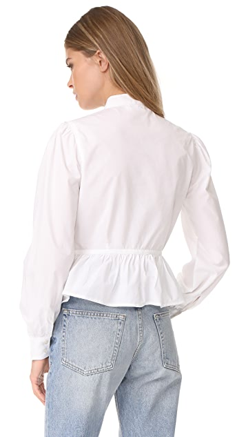 FRAME Double Pocket Peplum Blouse