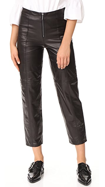 FRAME Zip Up Leather Trousers