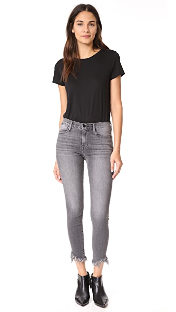 FRAME Le High Shredded Raw Skinny Jeans