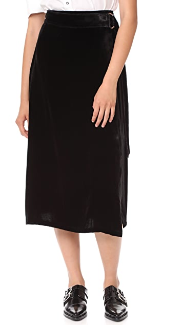 FRAME Velvet D Ring Wrap Skirt