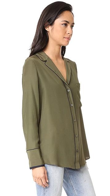 FRAME Блуза в пижамном стиле