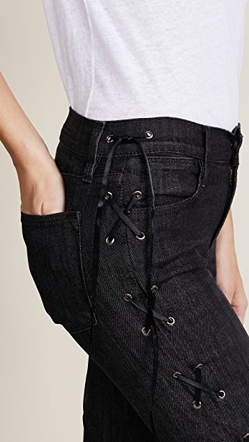 FRAME Le High Skinny Lace Up Side Jeans
