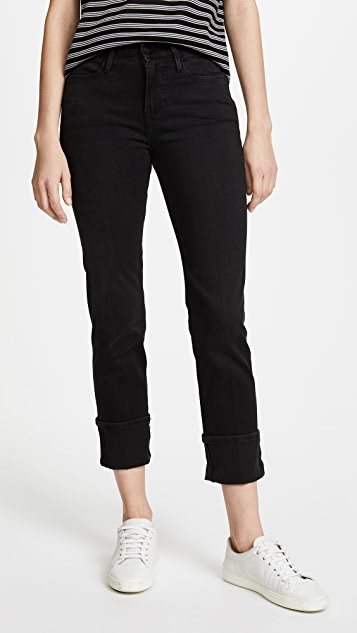 FRAME Le High Straight Jeans with Cuff Rivet