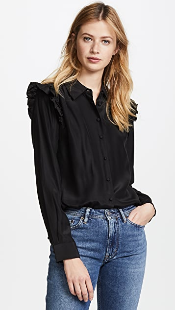 FRAME Ruffle Long Sleeve Blouse