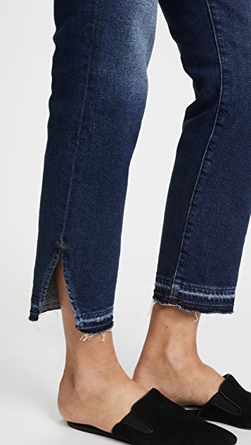 FRAME Le Nouveau Straight Jeans with Raw Triangle Cutout